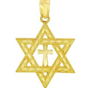 14k Solid Gold Jewish Star of David Cross Necklace